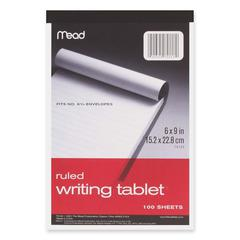 "Mead Plain Writing Tablet - 100 Sheets - Printed - 20 lb Basis Weight - 6"" x 9"" - White Paper - 1Each"