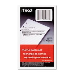 "Mead Memo Book Refill Paper - 80 Sheets - Printed - 3"" x 5"" - White Paper - 1Each"