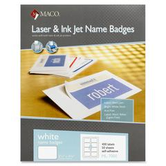 "MACO White Laser/Ink Jet Name Badge Labels - Removable Adhesive - 2.33"" Width x 3.38"" Length - 8 / Sheet - Rectangle - Laser, Inkjet - White - 400 / Box"