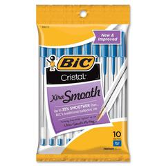 BIC Classic Cristal Ballpoint Pens - Medium Point Type - Blue, Black, Red - Clear Barrel - 10 / Pack