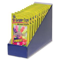 CLI Pencil Eraser Caps - Lead Pencil - Wedge - Latex-free - Rubber - 25/Pack - Assorted