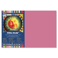 "Tru-Ray Construction Paper - 18"" x 12"" - 76 lb Basis Weight - 1 / Pack - Light Red - Sulphite"