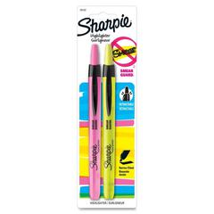 Accent Retractable Highlighter - Chisel Point Style - Fluorescent Pink, Fluorescent Yellow - 2 / Pack