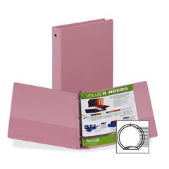 "Samsill Flexible Hinge 3-Ring Storage Binders - 1"" Binder Capacity - Letter - 8 1/2"" x 11"" Sheet Size - 3 x Round Ring Fastener(s) - 2 Inside Front Pocket(s) - Vinyl - Pink - Recycled - 1 / Each"