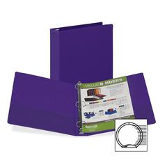 "Samsill Flexible Hinge 3-Ring Value Storage Binder - 1 1/2"" Binder Capacity - Letter - 8 1/2"" x 11"" Sheet Size - 3 x Round Ring Fastener(s) - 2 Inside Front Pocket(s) - Vinyl - Purple - Recycled - 1 /"