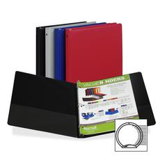 "Samsill 3-Ring Vinyl Value Storage Binder - 1/2"" Binder Capacity - Letter - 8 1/2"" x 11"" Sheet Size - 100 Sheet Capacity - 3 x Round Ring Fastener(s) - 2 Internal Pocket(s) - Vinyl - Assorted - Recycl"