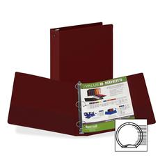 "Samsill Value Storage Ring Binder - 1 1/2"" Binder Capacity - Letter - 8 1/2"" x 11"" Sheet Size - 300 Sheet Capacity - 3 x Round Ring Fastener(s) - 2 Internal Pocket(s) - Vinyl - Burgundy - Recycled - 1"