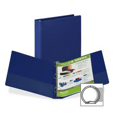 "Samsill Value Storage Ring Binder - 1 1/2"" Binder Capacity - Letter - 8 1/2"" x 11"" Sheet Size - 300 Sheet Capacity - 3 x Round Ring Fastener(s) - 2 Internal Pocket(s) - Vinyl - Dark Blue - Recycled -"
