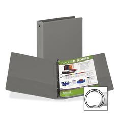 "Samsill Value Storage Ring Binder - 1 1/2"" Binder Capacity - Letter - 8 1/2"" x 11"" Sheet Size - 300 Sheet Capacity - 3 x Round Ring Fastener(s) - 2 Internal Pocket(s) - Vinyl - Gray - Recycled - 1 Eac"