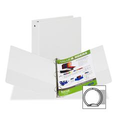 "Value Storage Ring Binder - 1 1/2"" Binder Capacity - Letter - 8 1/2"" x 11"" Sheet Size - 300 Sheet Capacity - 3 x Round Ring Fastener(s) - 2 Internal Pocket(s) - Vinyl - White - Recycled - 1 Ea"