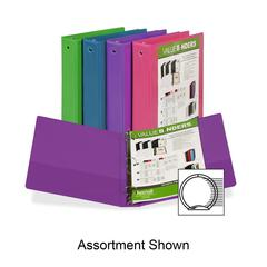 "Samsill Economy 2-Pocket Round Ring View Binders - 1 1/2"" Binder Capacity - Letter - 8 1/2"" x 11"" Sheet Size - 3 x Round Ring Fastener(s) - 2 Internal Pocket(s) - Kiwi, Blueberry, Tangerine, Watermelo"