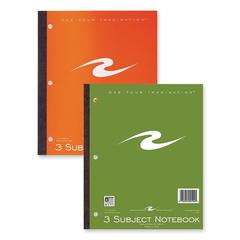 "Roaring Spring 3-Subject Wireless Notebook - 132 Sheets - Printed - Tape Bound 9"" x 11"" - White Paper - Assorted Cover - 1Each"