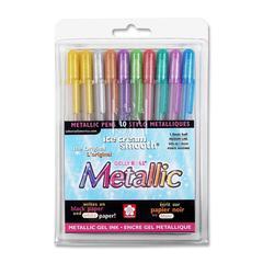Sakura of America Metallic Gel Ink Pen - Assorted Gel-based Ink - 10 / Pack
