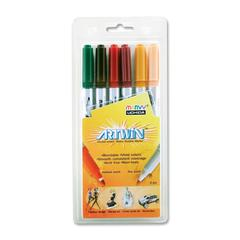 Uchida Artwin Assorted Colors Double-ended Markers - Fine, Medium Point Type - Bullet Point Style - Ochre, Cherry, Pale Orange, Pine Green, Dark Brown, Plum Water Based Ink - 6 / Set