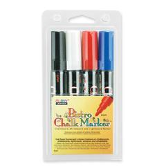 Marvy Uchida Bistro Water-based Chalk Markers - 6 mm Point Size - White, Black, Red, Blue Water Based Ink - 1 / Pack