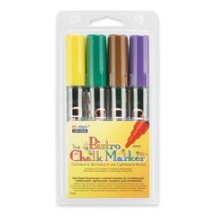 Marvy Uchida Bistro Water-based Chalk Markers - 6 mm Point Size - Green, Yellow, Brown, Violet Water Based Ink - 1 / Pack