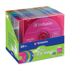 CD-RW 700MB 4X-12X DataLifePlus with Color Branded Surface and Matching Case - 20pk Slim Case, Assorted