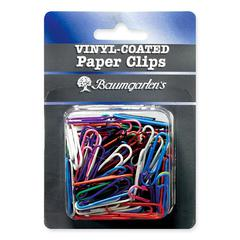 "Baumgartens Skid Resistant Paper Clip - Jumbo - 2"" Length - 40 Pack - Assorted - Vinyl"