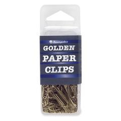 """Baumgartens Golden Paper Clip - Standard - 1.4"""" Width - 100 Pack - Gold - Brass"""
