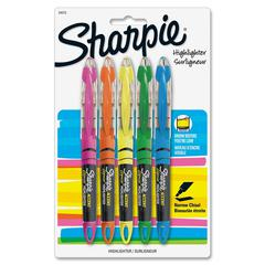 Sharpie Pen-style Liquid Highlighters - Micro Point Type - Chisel Point Style - Pink, Green, Orange, Yellow, Blue Pigment-based Ink - 5 / Set