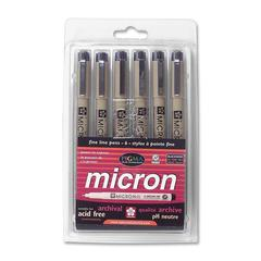 Sakura of America Micron Fade-resistant Pen Sets - Fine Point Type - 0.2 mm, 0.25 mm, 0.3 mm, 0.35 mm, 0.45 mm, 0.5 mm Point Size - Black - 6 / Set