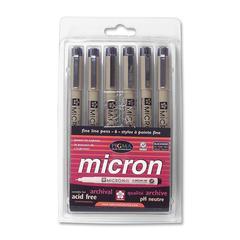 Permanent Marker - Fine Point Type - 0.2 mm, 0.25 mm, 0.3 mm, 0.35 mm, 0.45 mm, 0.5 mm Point Size - Black - 6 / Set