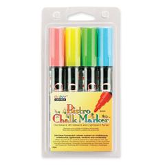 Marvy Bistro Chalk Marker - 6 mm Point Size - Fluorescent Red, Fluorescent Green, Fluorescent Blue, Fluorescent Yellow Water Based Ink - 4 / Pack