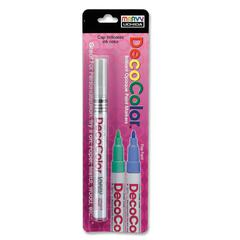 Marvy DecoColor Paint Marker - Extra Fine Point Type - Metallic Silver Oil Based Ink - 1 Each