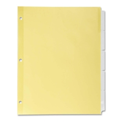 "Commercial Insertable Index Divider - 5 Tab(s) - 8.50"" Divider Width x 11"" Divider Length - Letter - 3 Hole Punched - Canary Divider - Clear Plastic Tab(s) - 5 / Set"