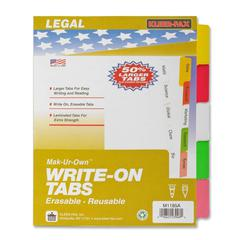 """Kleer-Fax Laminated Tab Write-on Index Dividers - 5 Write-on Tab(s) - 8.5"""" Divider Width x 11"""" Divider Length - Letter - 3 Hole Punched - White Divider - Multicolor Plastic Tab(s) - 5 / Set"""