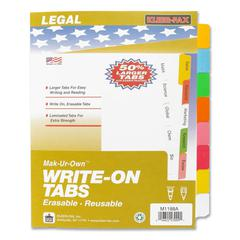 "Kleer-Fax Laminated Tab Write-on Index Dividers - 8 Write-on Tab(s) - 8.5"" Divider Width x 11"" Divider Length - Letter - 3 Hole Punched - White Divider - Multicolor Plastic Tab(s) - 8 / Set"