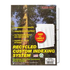 "Kleer-Fax Custom Unpunched Laser Indexing System - 5 Tab(s) - 8.5"" Divider Width x 11"" Divider Length - Letter - White Divider - Clear Tab(s) - 25 / Box"