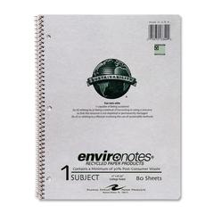 """Environotes 1-Subject Wirebound Notebook - 80 Sheets - Printed - Wire Bound - Letter 8.50"""" x 11"""" - Mist Gray Cover - Kraft Cover - Recycled - 1Each"""
