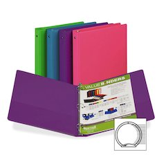 """Samsill Value Storage Binder - 1"""" Binder Capacity - Letter - 8 1/2"""" x 11"""" Sheet Size - 3 x Ring Fastener(s) - 1 Inside Front & Back Pocket(s) - Assorted - Recycled - 1 Each"""