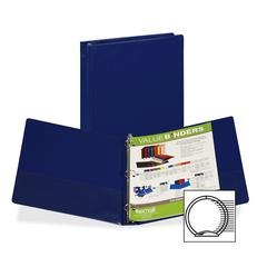 "Samsill Value Storage Binder - 1"" Binder Capacity - Letter - 8 1/2"" x 11"" Sheet Size - 3 x Ring Fastener(s) - 1 Inside Front & Back Pocket(s) - Dark Blue - Recycled - 1 Each"