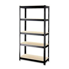 "Hirsh Boltless Shelves - 36"" x 16"" x 72"" - 5 x Shelf(ves) - 900 lb Load Capacity - Rust Resistant - Black - Baked Enamel - Particleboard, Steel - Recycled - Assembly Required"