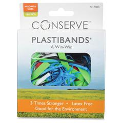 Conserve Plastibands - Latex-free, Archival-safe - 100 / Box - Polyurethane - Assorted