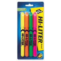 Hi-Liter Fluorescent Pen Style Highlighters - Chisel, Point Point Style - Fluorescent Yellow, Pink, Orange, Green - 4 / Pack