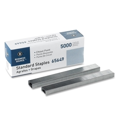 """Business Source Standard Staples - 210 Per Strip - 1/4"""" Leg - 1/2"""" Crown - Holds 30 Sheet(s) - Chisel Point - Silver - 5000 / Box"""
