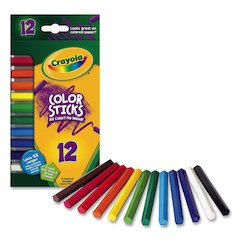 Crayola 12 Color Sticks Woodless Colored Pencils - Red, Red Orange, Orange, Yellow, Yellow Green, Green, Sky Blue, Blue, Violet, Brown, Black, ... Lead - 12 / Box