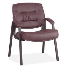 """Office Star Leather Visitors Chair - Leather Burgundy Seat - Four-legged Base - 20.50"""" Seat Width x 19"""" Seat Depth - 25.3"""" Width x 27.5"""" Depth x 34.8"""" Height"""