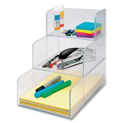 "Desktop Storage Organizer - 3 Compartment(s) - 12"" Height x 12"" Width x 9.4"" Depth - Desktop - Clear - 1Each"