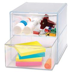 "Sparco 2-Drawer Storage Organizer - 2 Drawer(s) - 6"" Height x 6"" Width x 6"" Depth - Clear - 1Each"