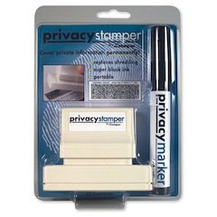 "Secure Privacy Stamp Kit - 1"" Impression Width x 2.65"" Impression Length - Black - 1 / Pack"