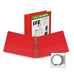 "Samsill Economy View Binder - 1"" Binder Capacity - Letter - 8 1/2"" x 11"" Sheet Size - 225 Sheet Capacity - 3 x Round Ring Fastener(s) - 2 Internal Pocket(s) - Chipboard, Polypropylene - Red - Recycled"