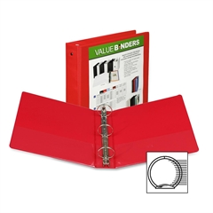 "Samsill Economy View Binder - 2"" Binder Capacity - Letter - 8 1/2"" x 11"" Sheet Size - 450 Sheet Capacity - 3 x Round Ring Fastener(s) - 2 Internal Pocket(s) - Polypropylene, Chipboard - Red - Recycled"