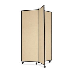 """Screenflex Panel Mobile Display Tower - 69"""" Height x 36"""" Width - Wheat Polyester Fabric Surface - Steel Frame - 1 Each"""