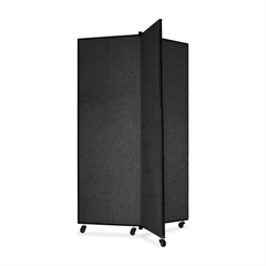 "Screenflex Panel Mobile Display Tower - 69"" Height x 36"" Width - Black Polyester Fabric Surface - Steel Frame - 1 Each"