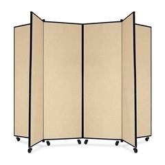 """Screenflex Panel Mobile Display Tower - 69"""" Height x 84"""" Width - Wheat Polyester Fabric Surface - Steel Frame - 1 Each"""