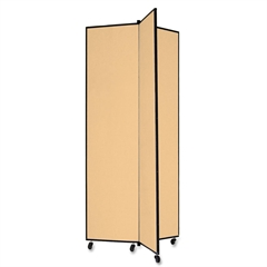 """Screenflex Panel Mobile Display Tower - 77"""" Height x 36"""" Width - Wheat Polyester Fabric Surface - Steel Frame - 1 Each"""